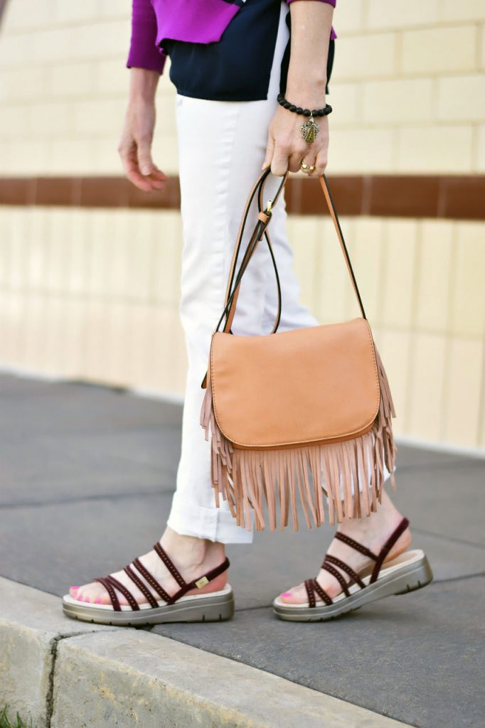 Styling Summer sandals with a fringe purse