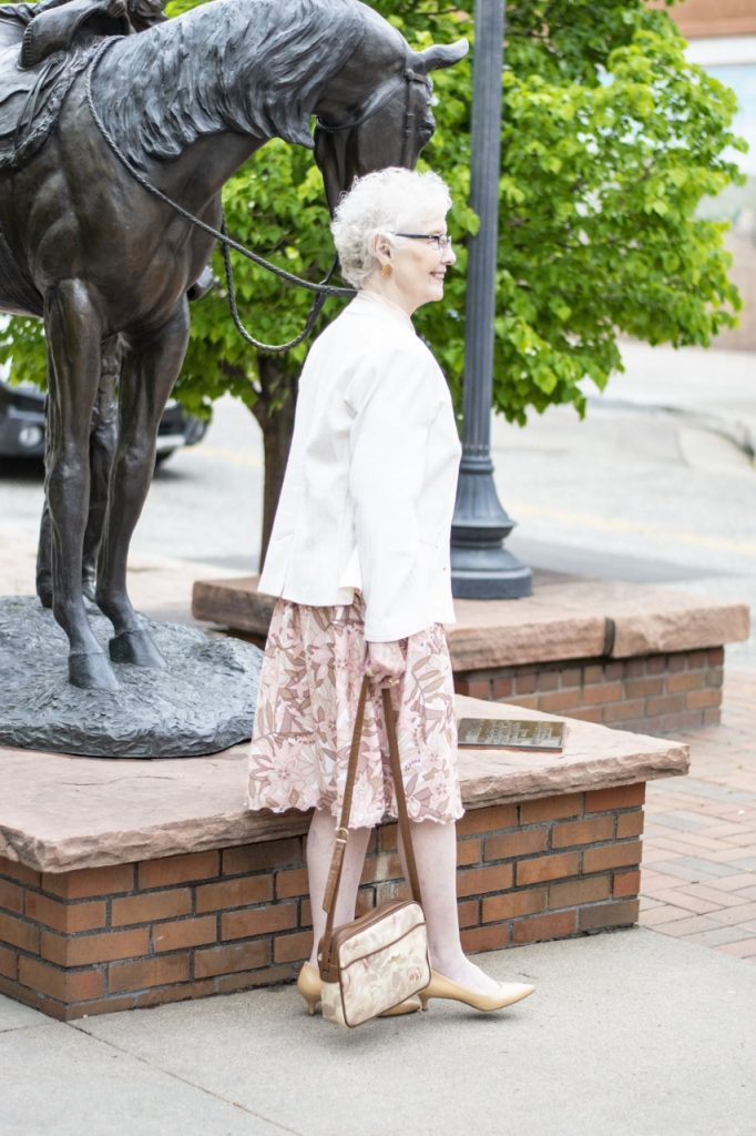 Styling our minimalist top for women over 80 on Jodie's Touch of Style