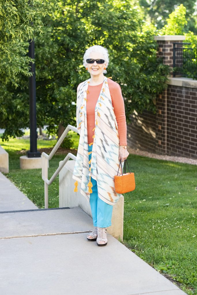 Styling summer clothing material for older women