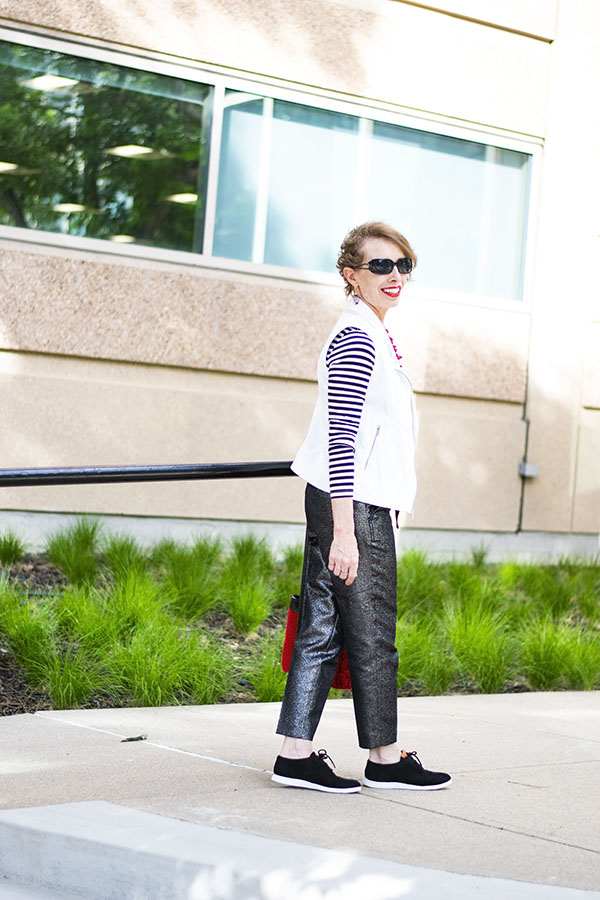Glitter Clothes for Women over 50 with metallic pants