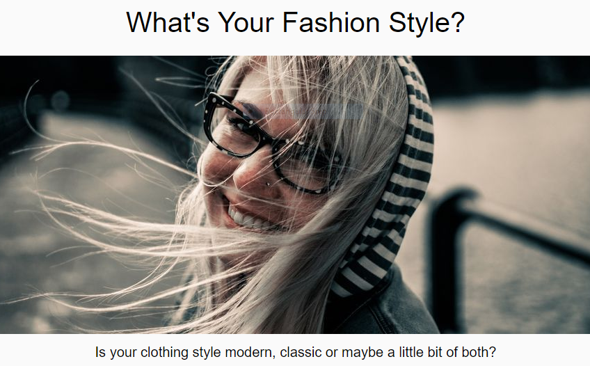 Fashion Style quiz for fashion style