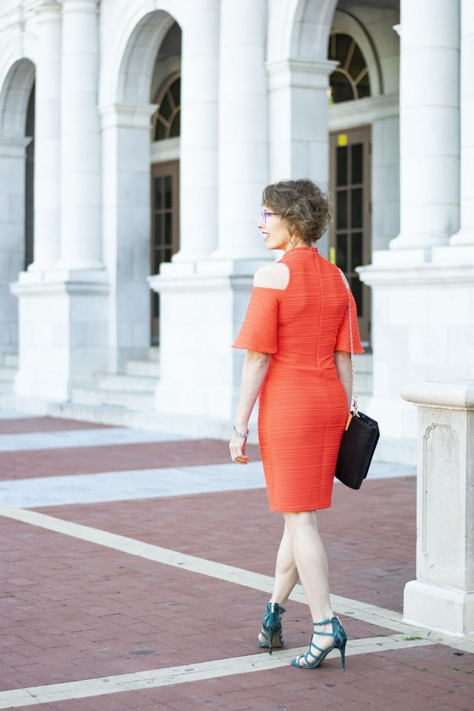 Styling a high school reunion outfit with a cold shoulder dress