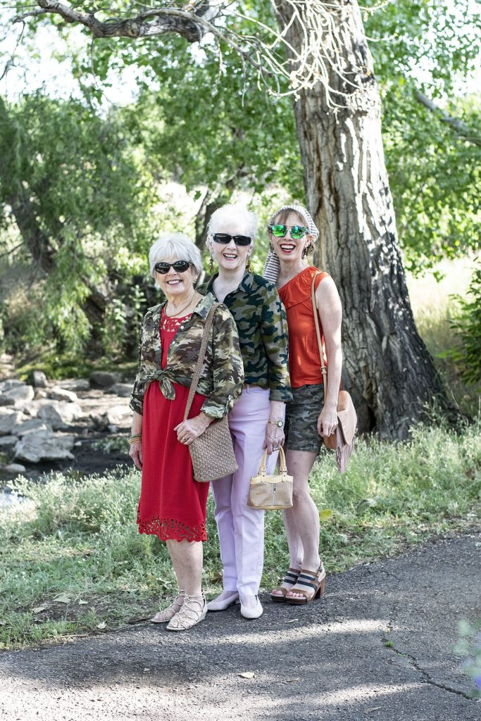 Camo and color on older ladies in a modern way