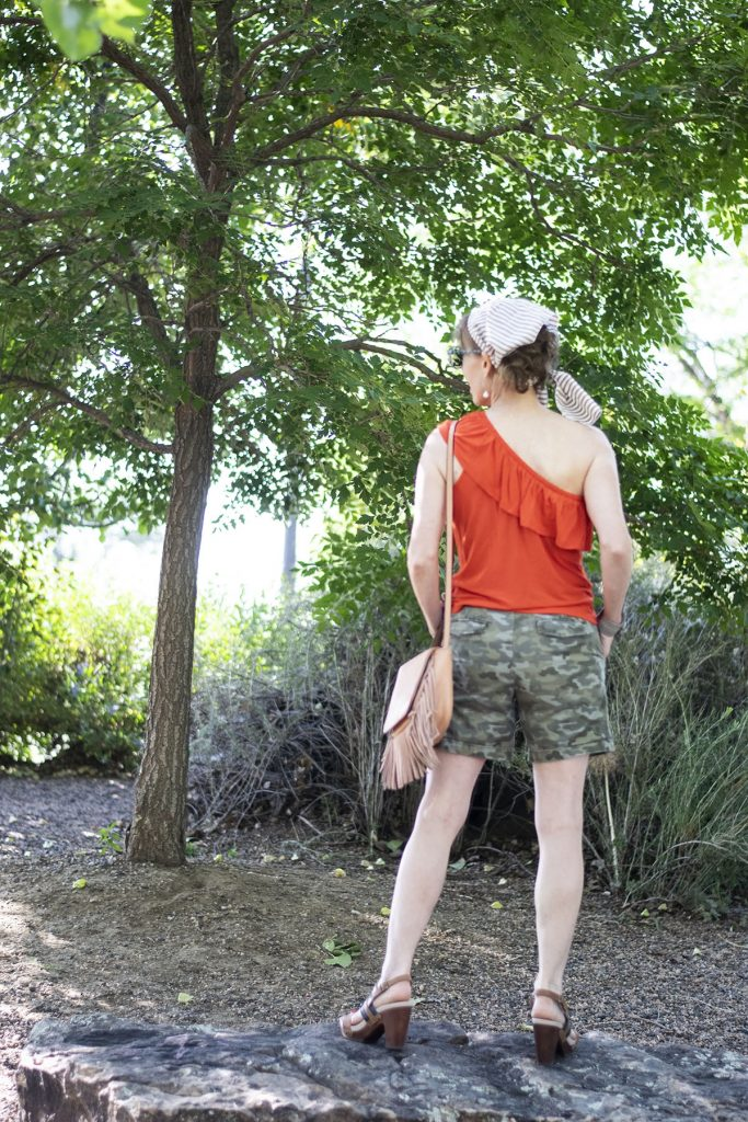 Styling Camo and color with a one shoulder shirt