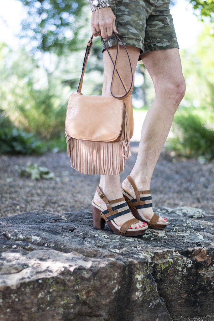 Styling Camo and color with a fringe purse