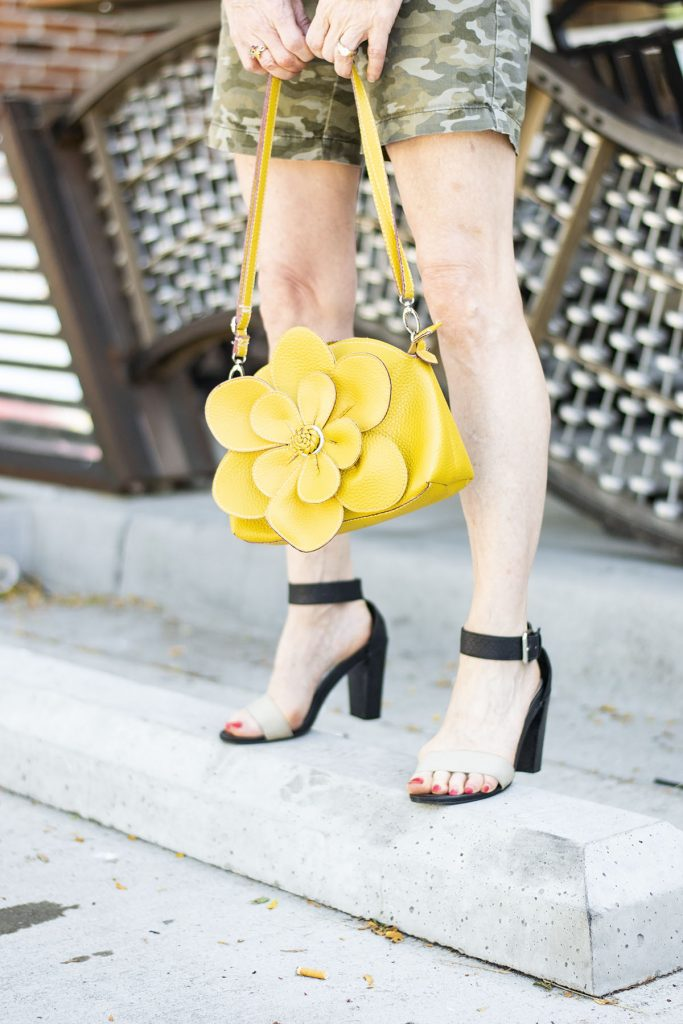 How to style camo outfits worn with yellow accents