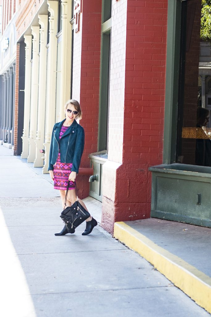 How to style fall outfits with comfortable booties for women with a moto jacket
