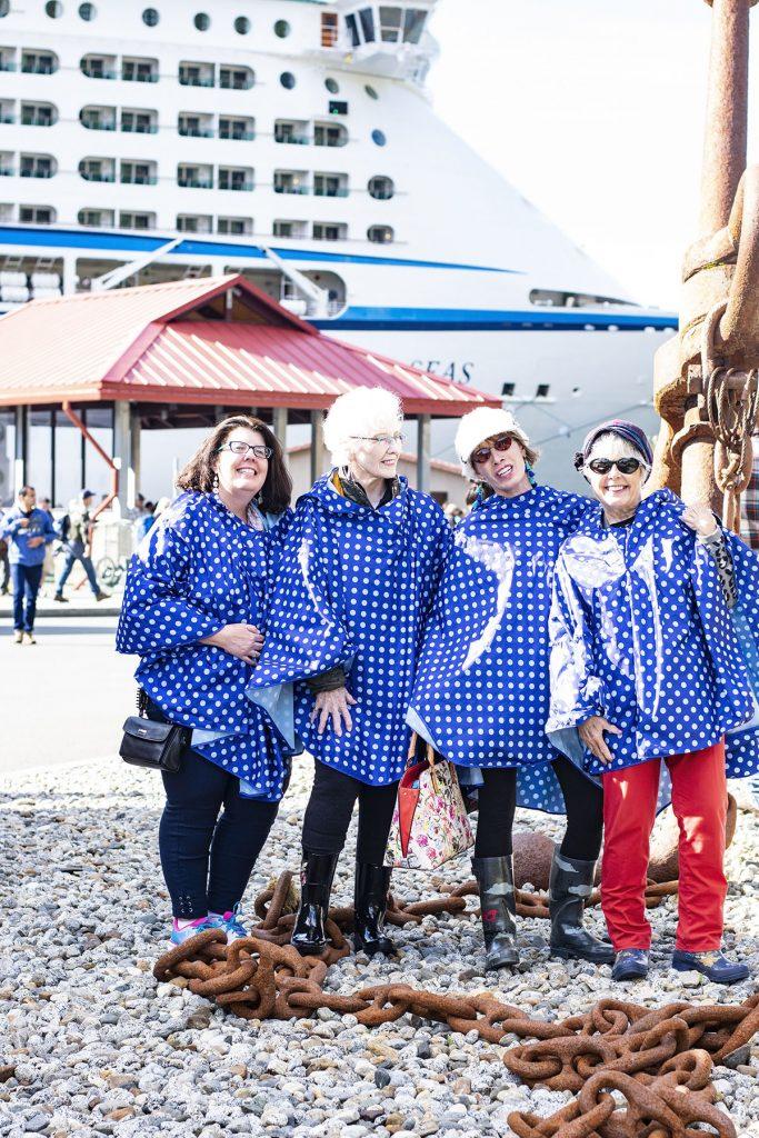 Alaska shore excursions in Juneau in our rain ponchos