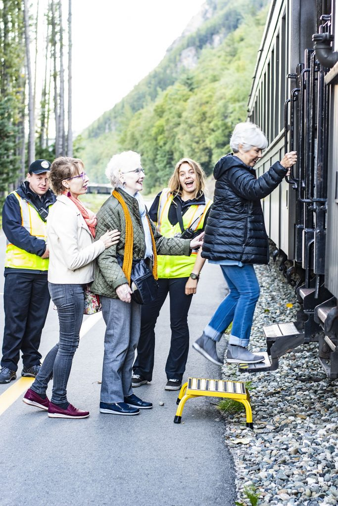 Alaska shore excursions in Skagway on the White Pass Train for women over 40