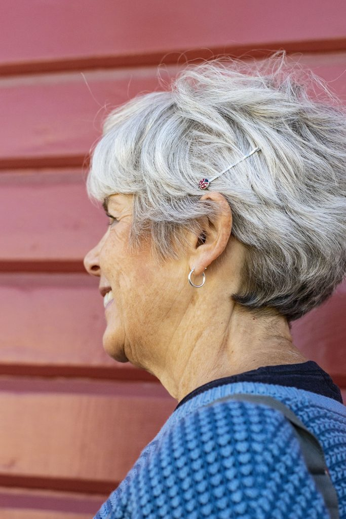 Wearing hair accessories with Lilla Rose for women over 60