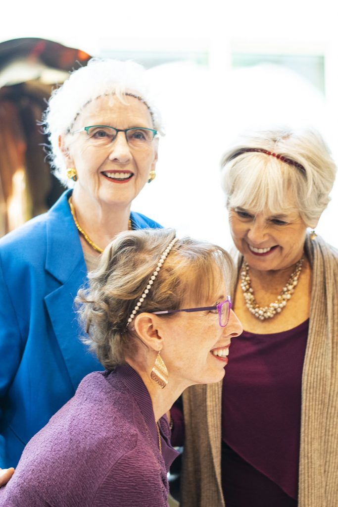 Wearing hair accessories with Lilla Rose for older women