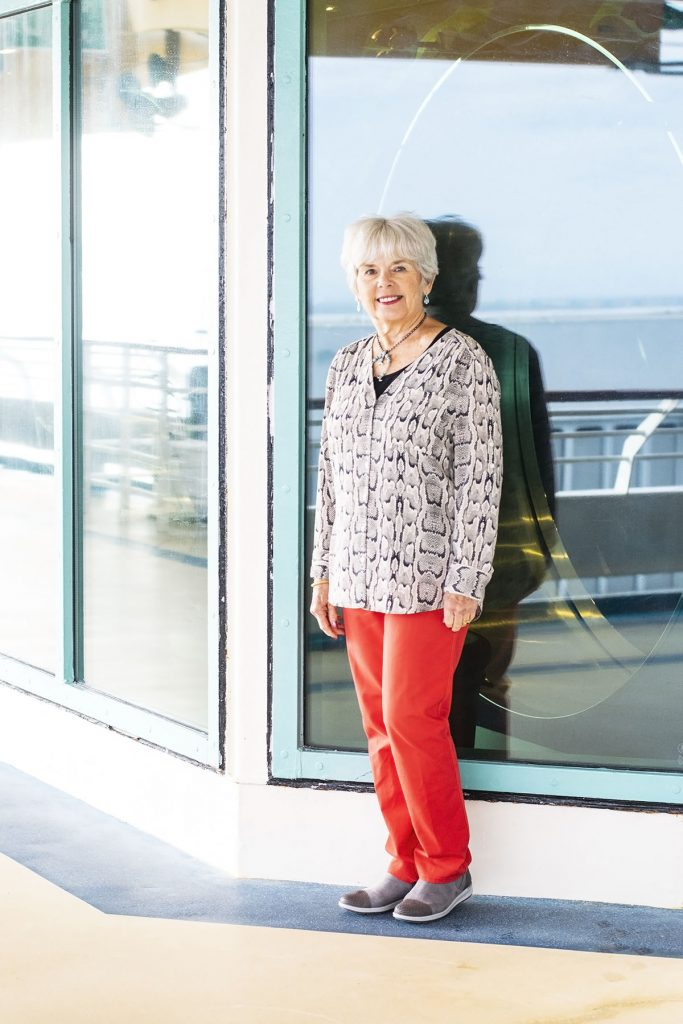 Womens travel outfits for women over 70 with red jeans
