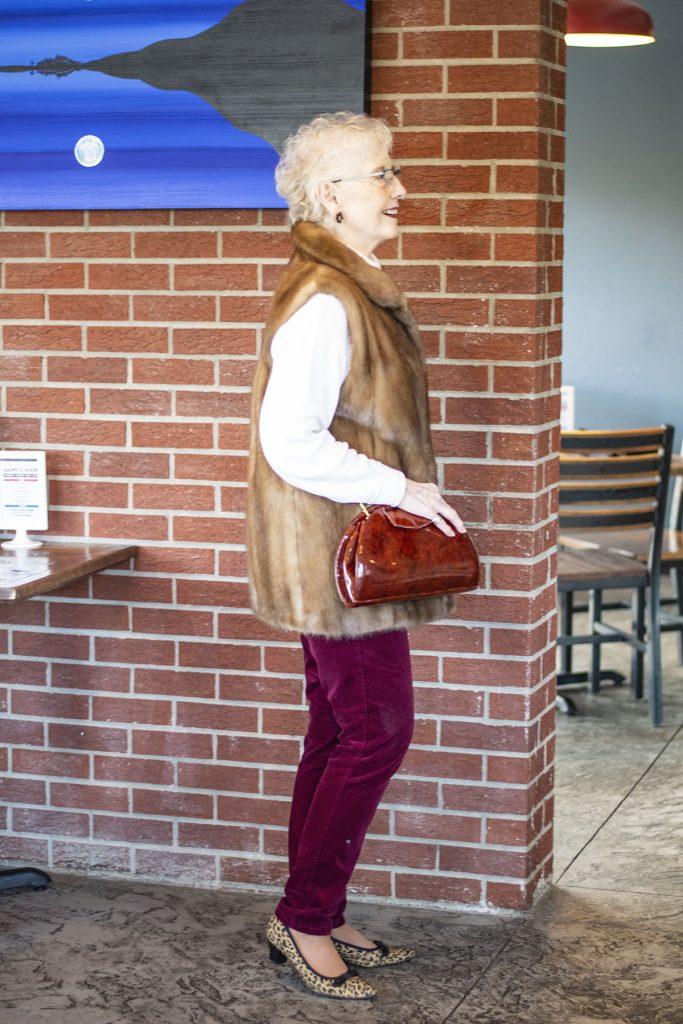 Styling velvet pants with a DIY fur vest