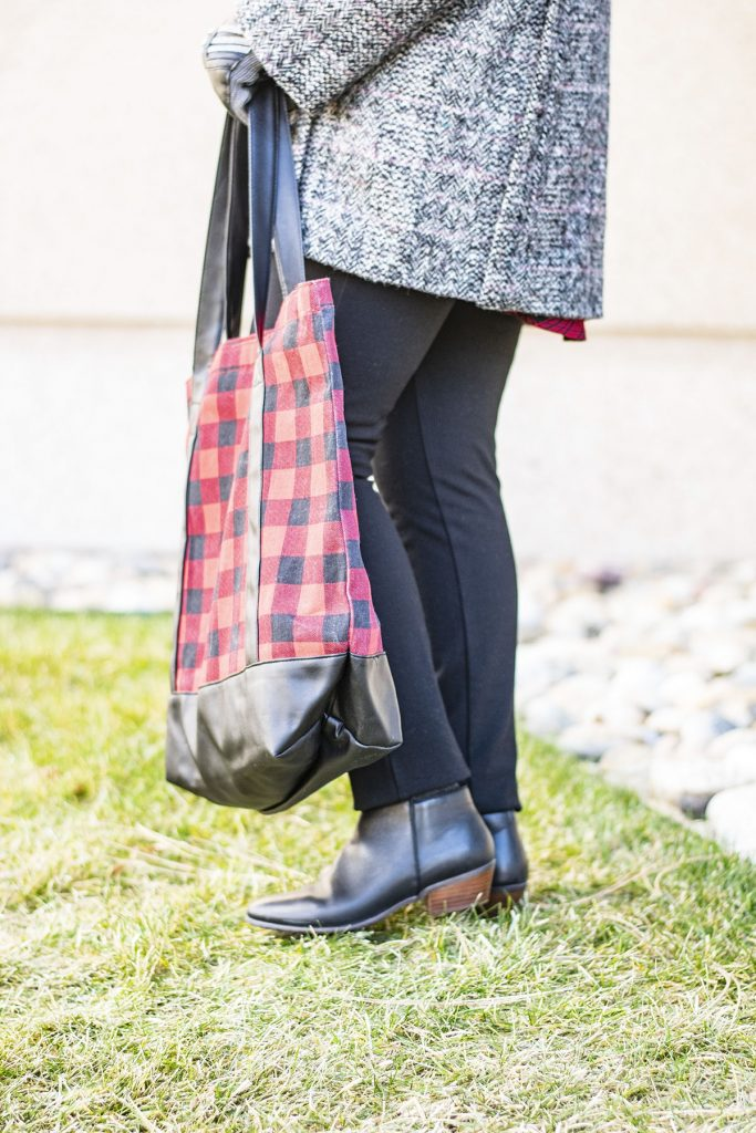 Styling buffalo plaid with another plaid to showcase a mix and match of prints