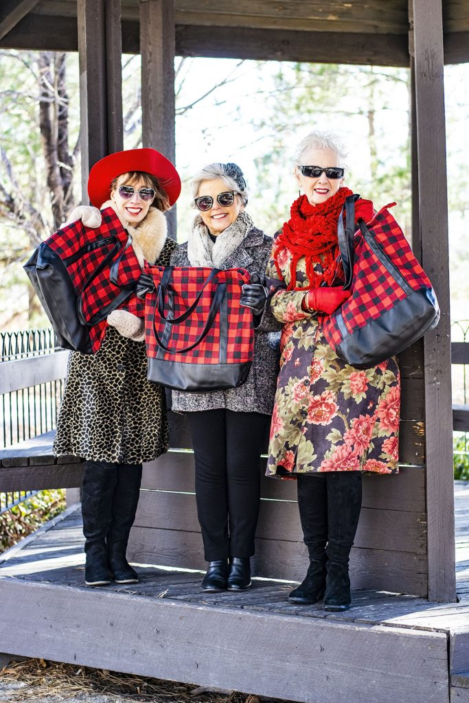 How to mix and match prints a plaid tote for older women