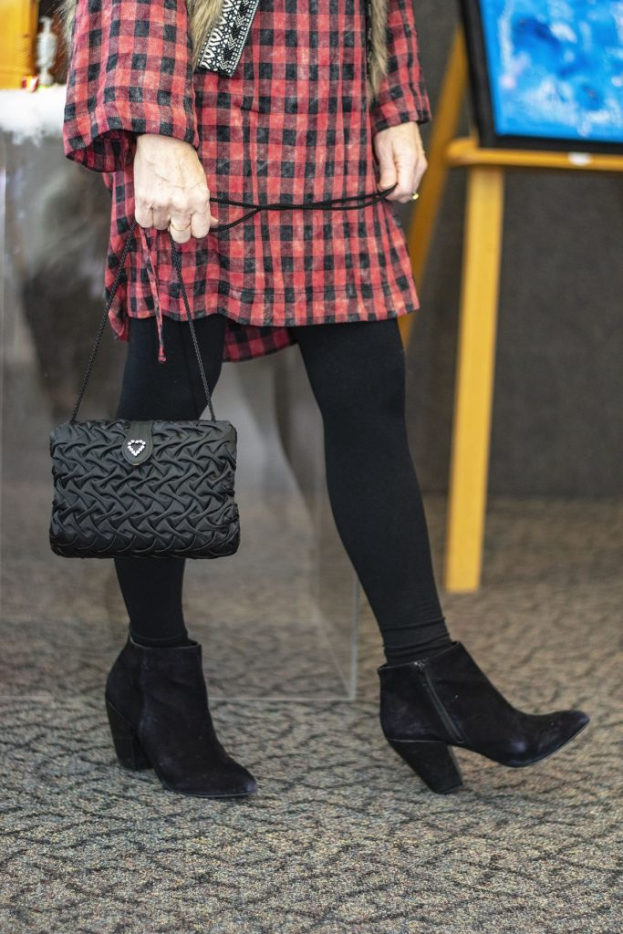How to style checks and plaids fabric as a dress with boots