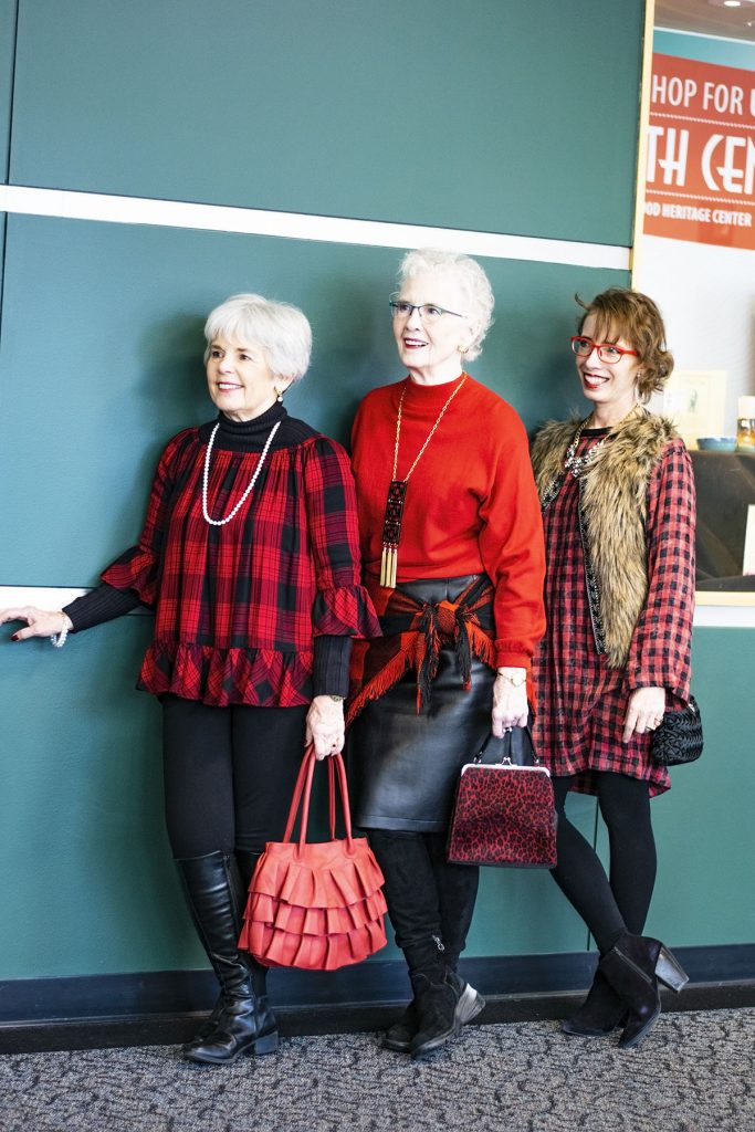Women over 50 styling checks and plaids fabric for a holiday event
