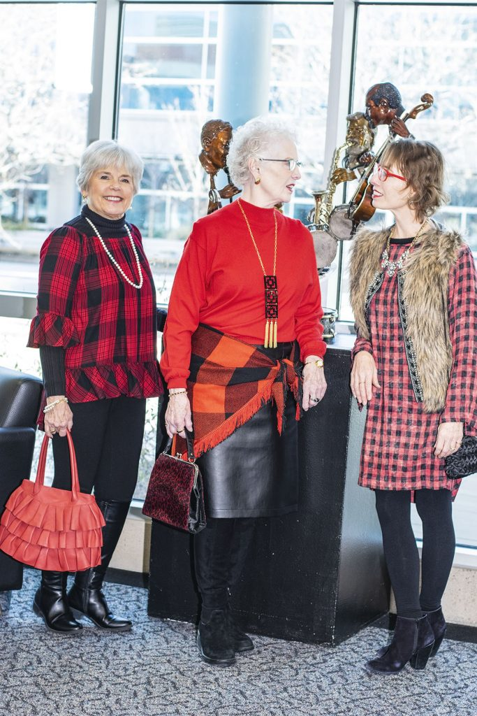 Women over 50 styling checks and plaids fabric for a dressy event