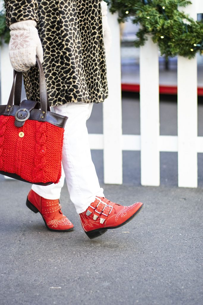 Styling a leopard print coat with white and red