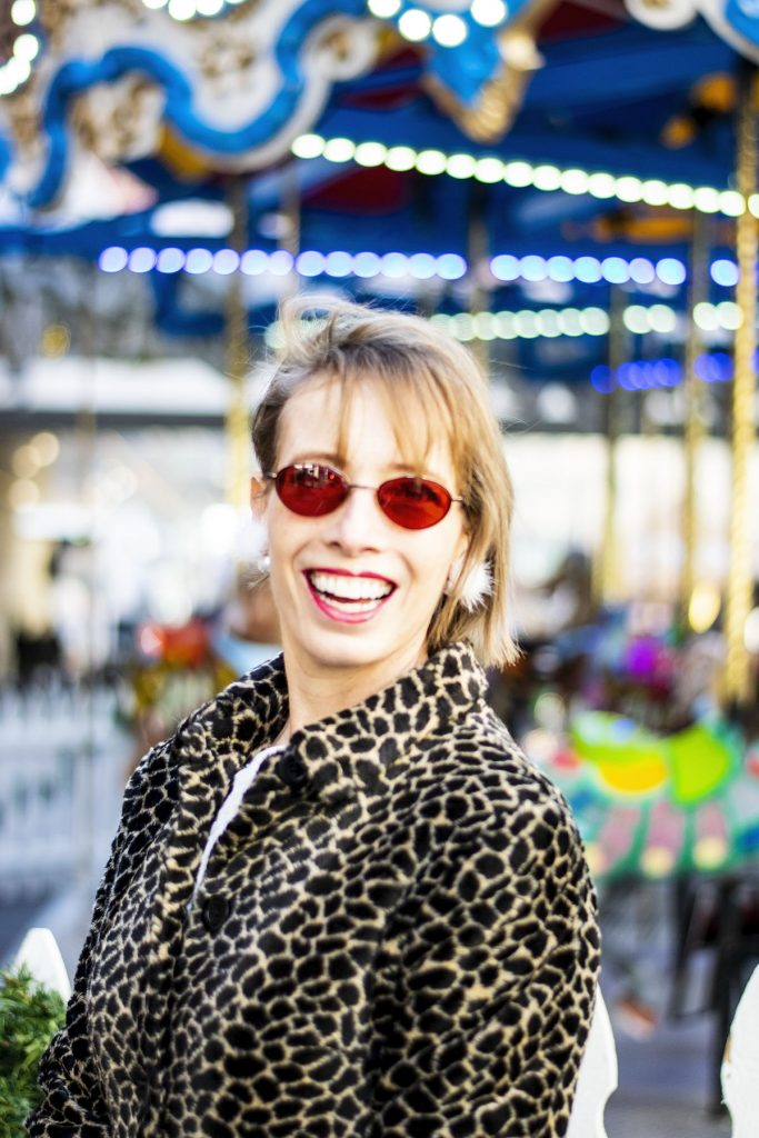 Women over 40 styling a leopard print coat