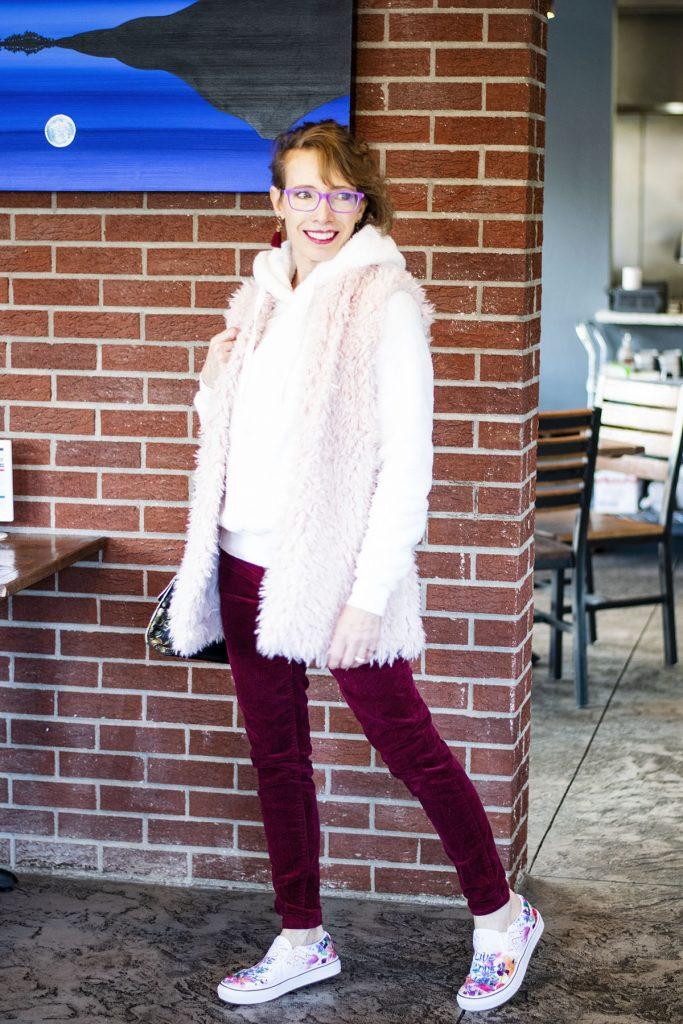 Styling velvet pants for women over 50