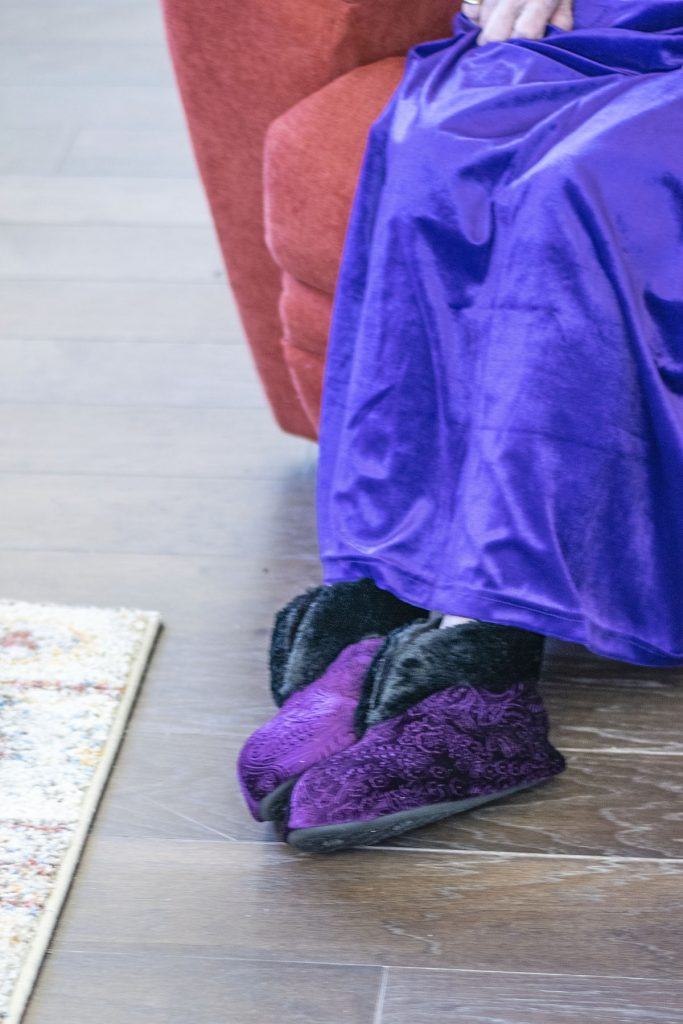 Women's robes and slippers in purple