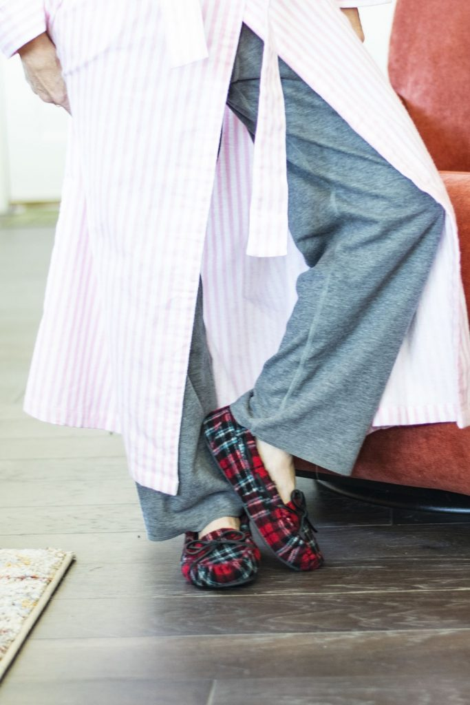 Women's robes and slippers in plaid and stripes