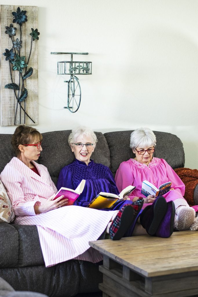 Women's robes and slippers at home reading