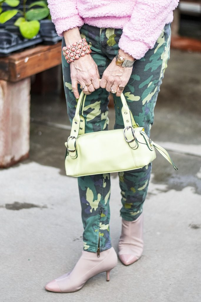 How to wear green and pink and a lime green purse