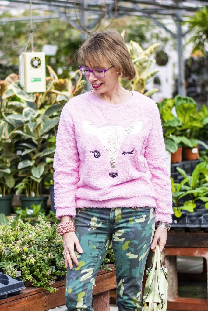How to wear green and pink with a fuzzy sweater