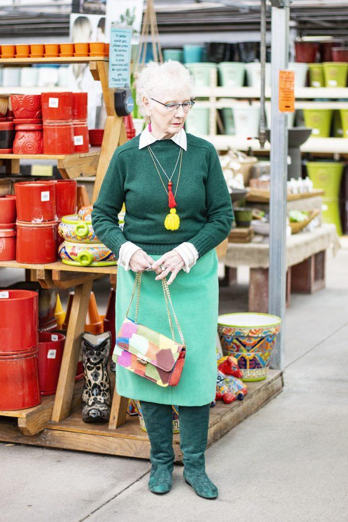 Wearing green for older ladies
