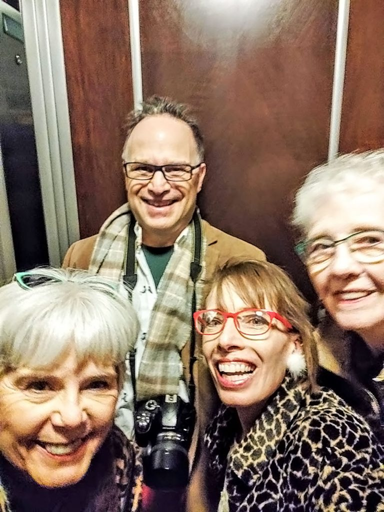 In the elevator at the Brown Palace hotel in Denver Colorado