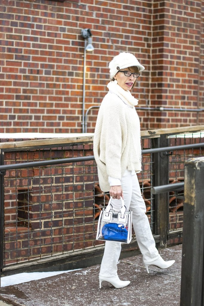 How to style white boots with ivory and white