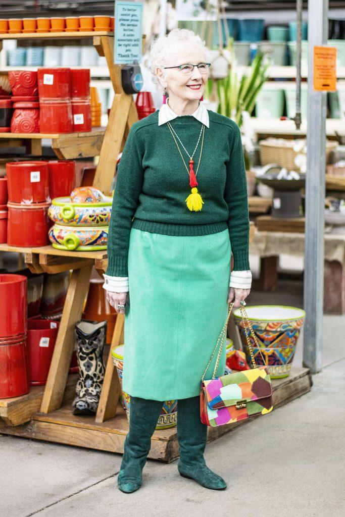 Wearing green for older women