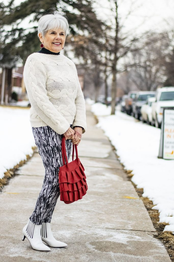 How to style white boots with print pants