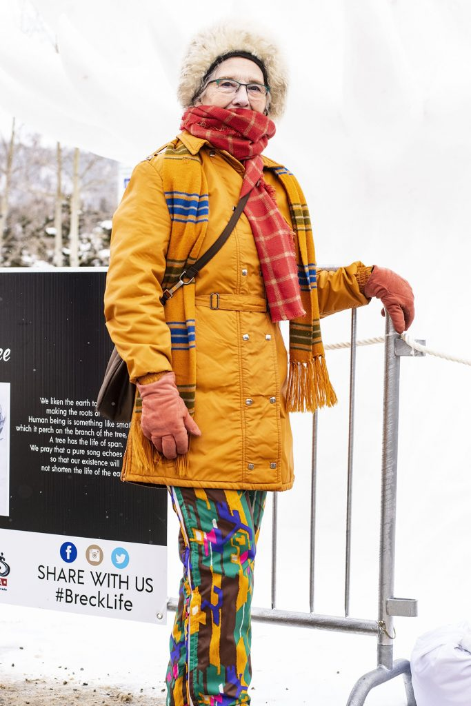 Wearing a snow outfit from the 70's