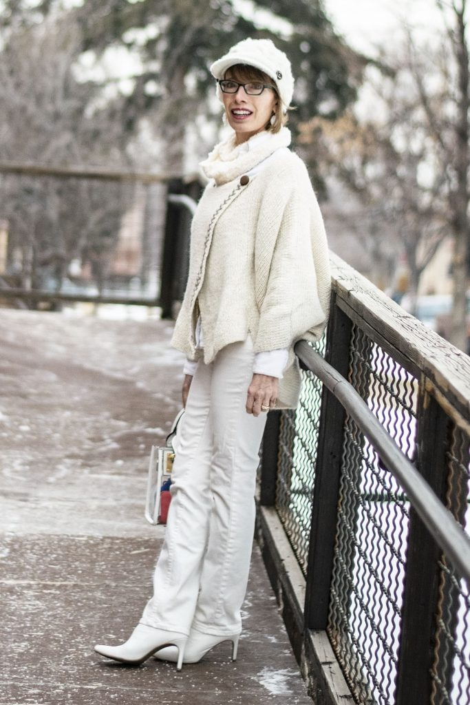 How to style white boots with an all white outfit