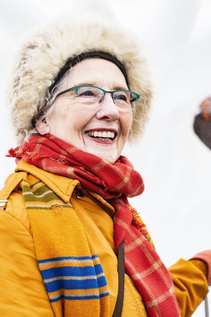 Woman over 80 in her snow outfit