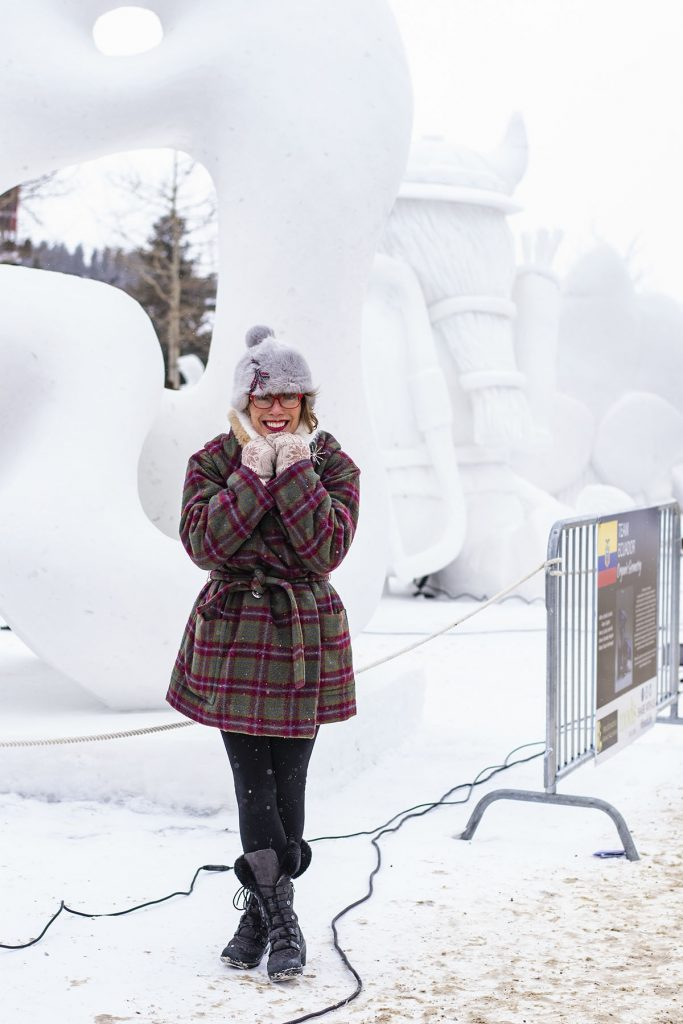 Woman over 50 in her snow outfit
