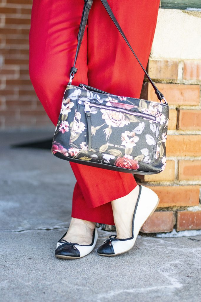 Styling black and white for spring with a floral purse