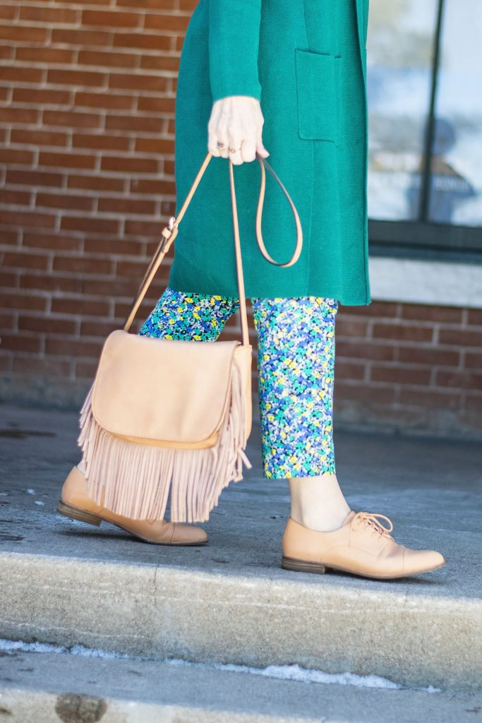 Print mixing with black and white for spring with brogues