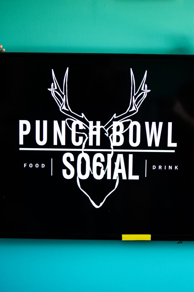 Wearing spring colors at Punch Bowl Social on Broadway