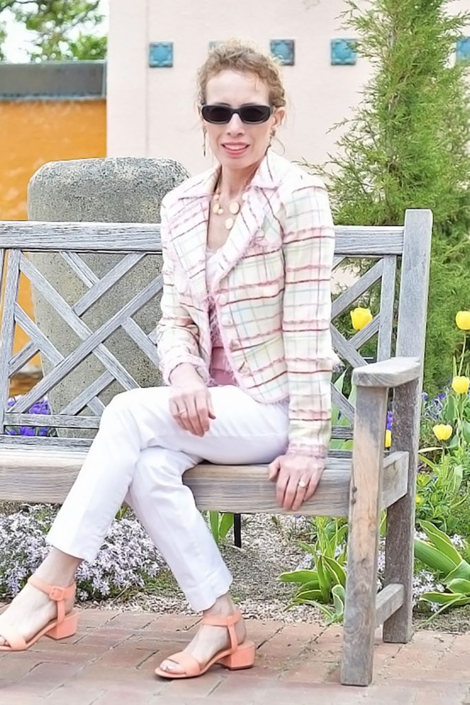 Spring colors in tops with white jeans