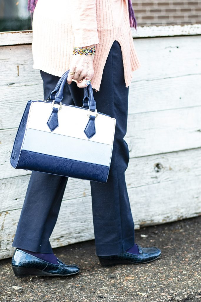 Wearing spring colors with navy shoes and purse