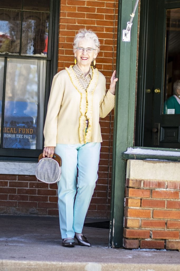 Wearing black and white for spring with pastels for older women