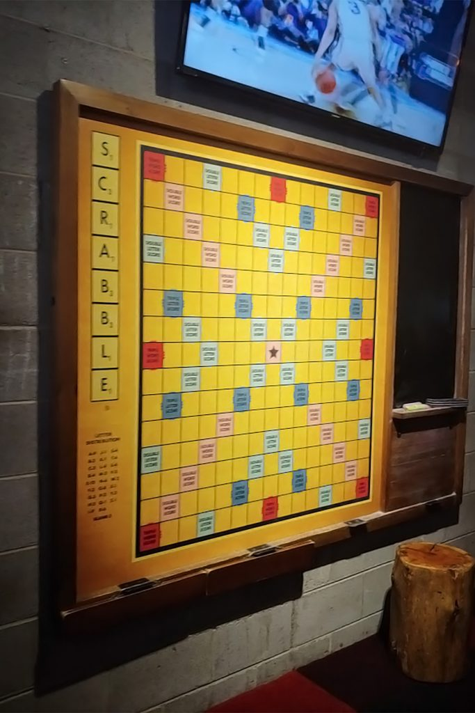 Wearing spring colors at PBS with scrabble