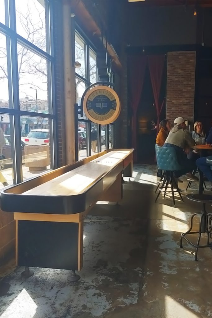 Wearing spring colors at PBS with shuffleboard