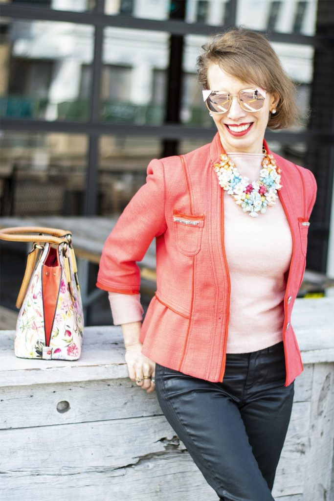 Styling spring colors with a statement necklace