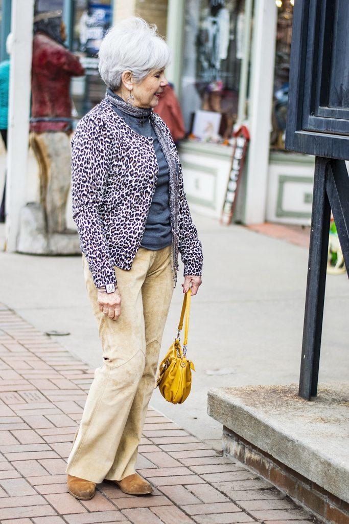 Modern cowboy style with a leopard cardigan