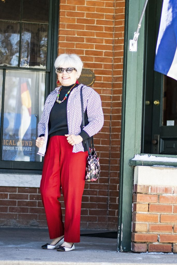 Styling black and white for spring with red pants